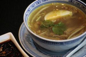 A5 Soto Madura Indonesian chicken soup with shredded chicken, glass noodles, bean sprouts and celery.