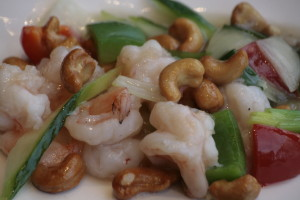 G1 Yaoguo Xia Prawns with cashew nuts, bamboo, cucumber and onion.