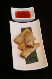D3 Mini Lumpia Fried mini springrolls with vegetable ragout.