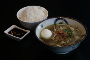 J7 Soto Madura Indonesian glass noodle soup with shredded chicken, bean sprouts, celery and rice.